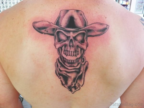 Black Ink Cowboy Skull Tattoo On Man Upper Back