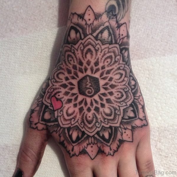 Black Ink Dotwork Flower Tattoo On Left Hand
