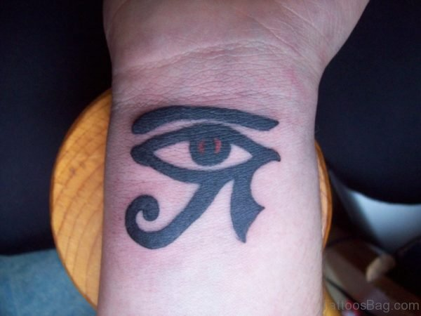 Black Ink Horus Eye Tattoo On Right Wrist