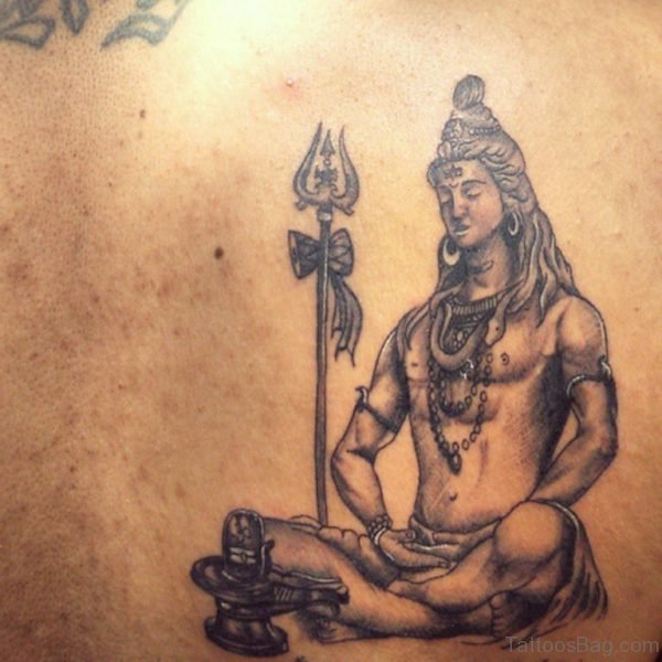 Black Ink Lord Shiva With Trishul Tattoo Design