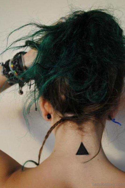 Black Ink Nape Tattoo