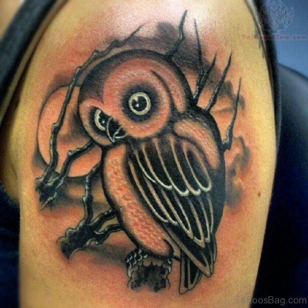 Black Ink Owl Shoulder Tattoo