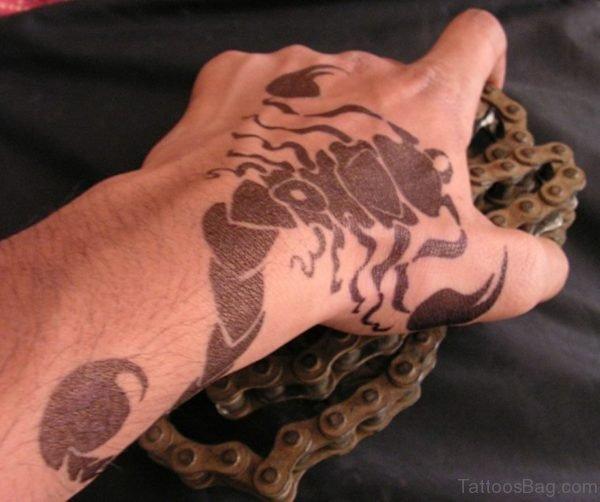 Black Ink Scorpion Tattoo