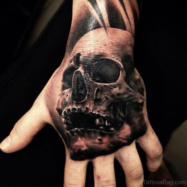 Black Ink Skull Tattoo