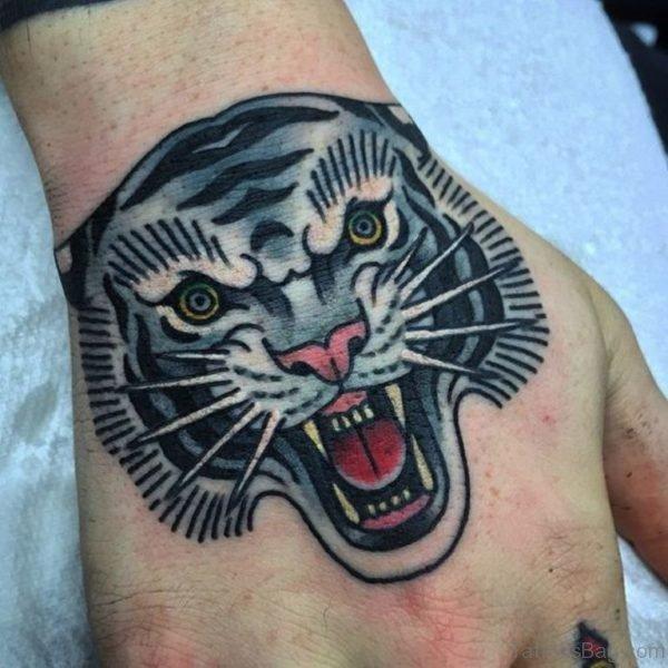 Black Ink Tiger Tattoo