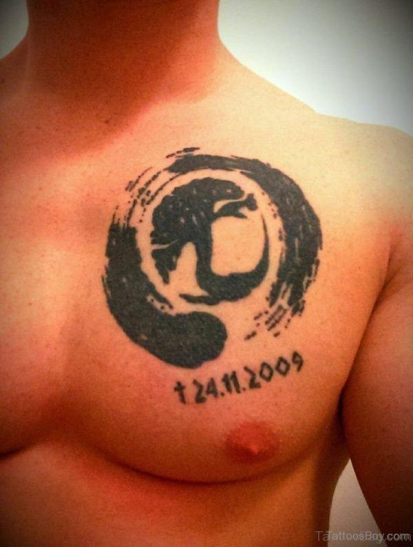 Black Ink Tree Tattoo