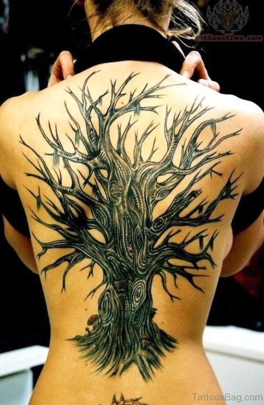 Black Inked Dragon Tattoo On Back
