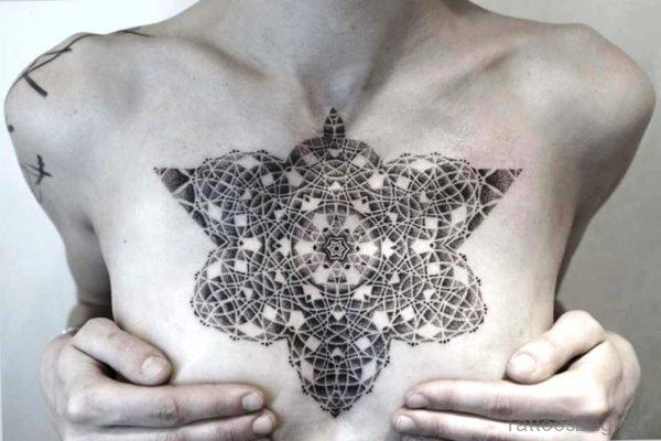 Black Kenji Tattoo On Chest
