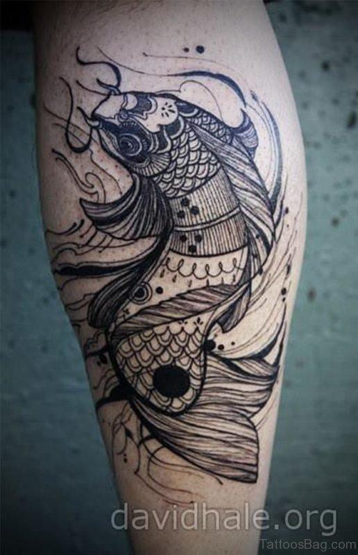 Black Koi Fish Tattoo On Arm
