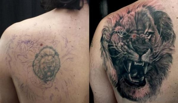 Black Lion Face Tattoo