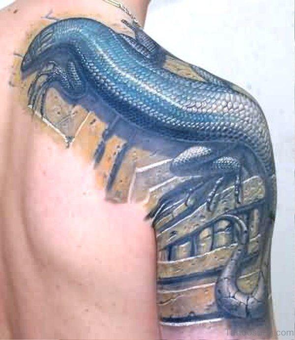 Black Lizard Tattoo On Shoulder