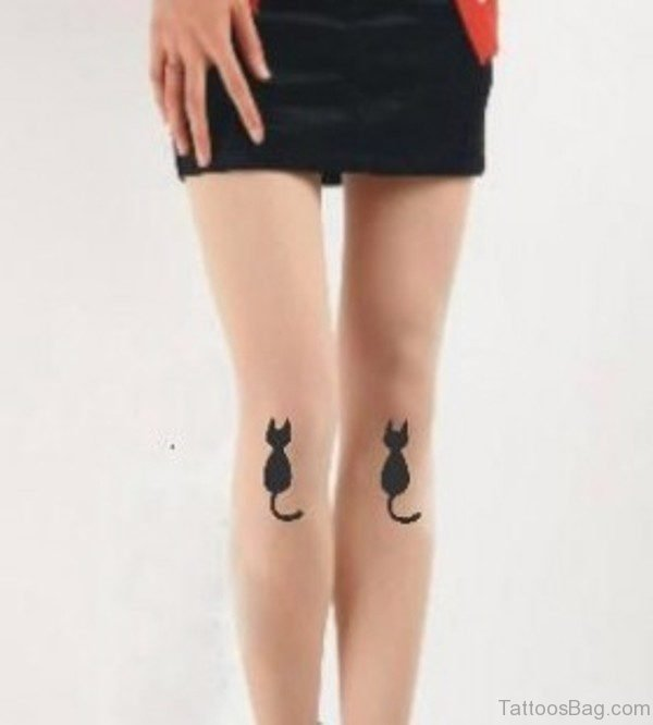 Black Lovely Cat Tattoo On Leg