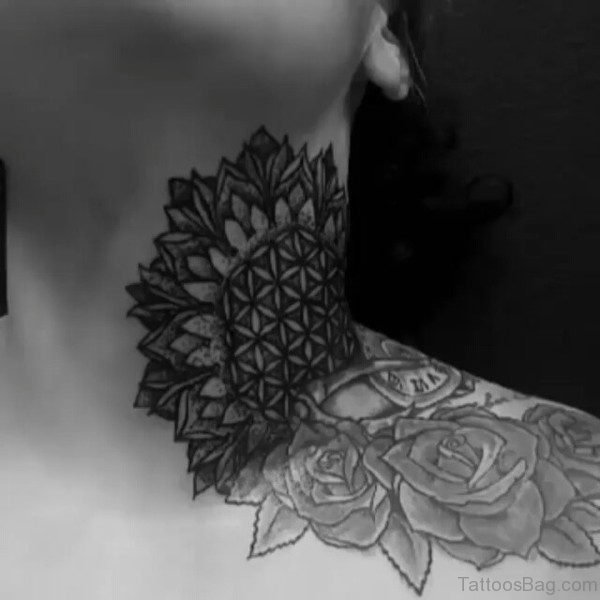Black Mandala Neck Tattoo Design