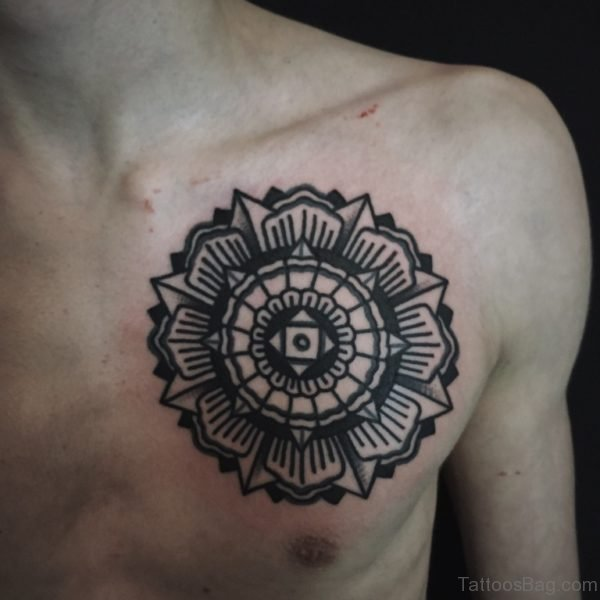 Black Mandala Tattoo On Chest