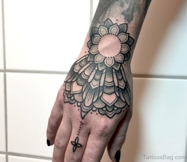 Black Mandala Tattoo On Hand