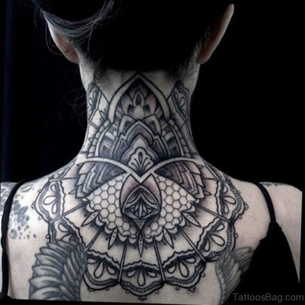 Black Mandala Tattoo On Nape