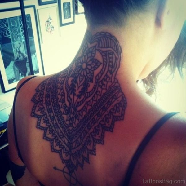 Black Mandala Tattoo On Neck