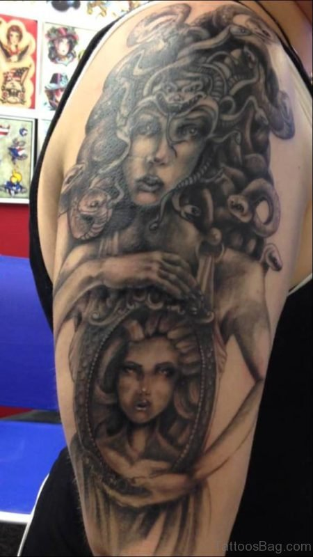 Black Medusa Tattoo Design On Half Sleeve