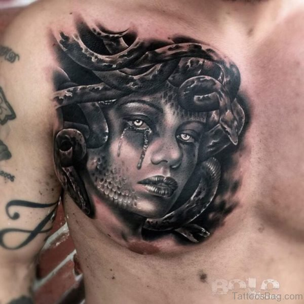 Black Medusa Tattoo On Chest