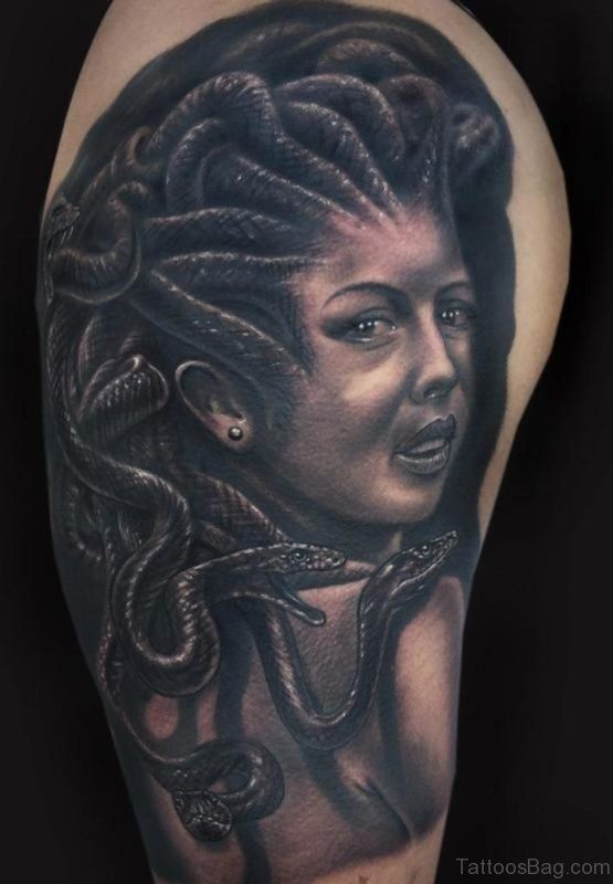 Black Medusa Tattoo On Half Sleeve