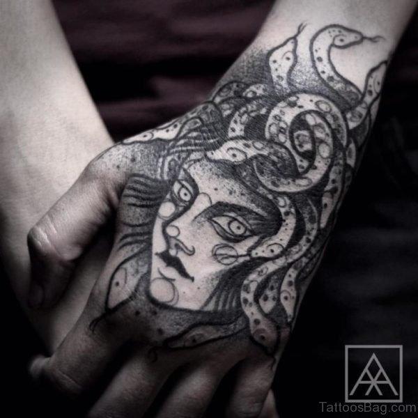 Black Medusa Tattoo On Hand