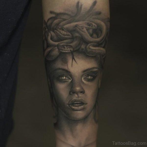 Black Medusa Tattoo On Wrist