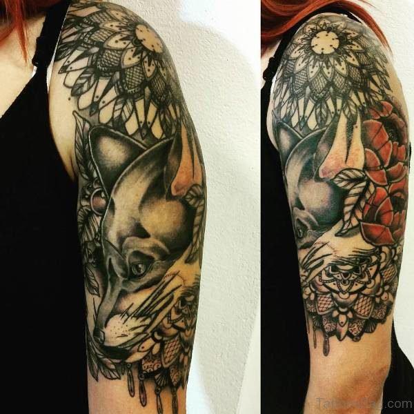 Black Nautical Shoulder Tattoo Design
