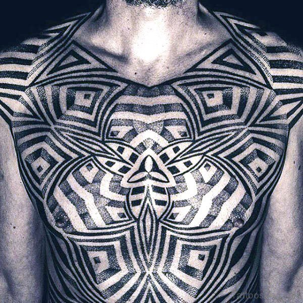 Black Optical Illusion Tattoo On Chest