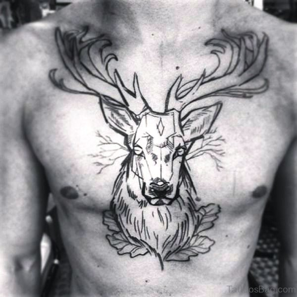 Black Outline Buck Tattoo On Chest