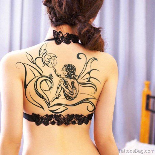 Black Outline Fairy Tattoo On Back