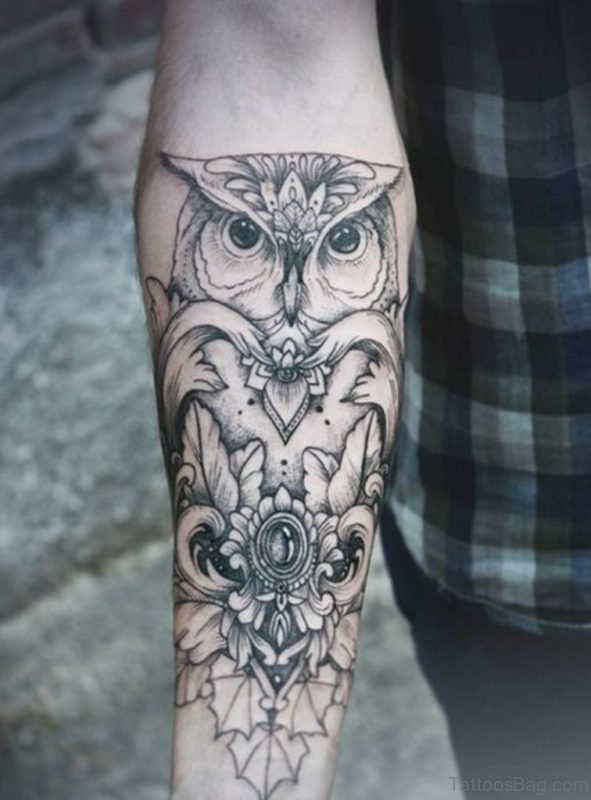 Black Owl Tattoo On Wrist