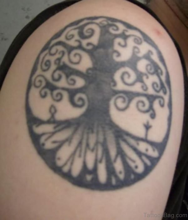 Black Pagan Tree Tattoo On Right Shoulder
