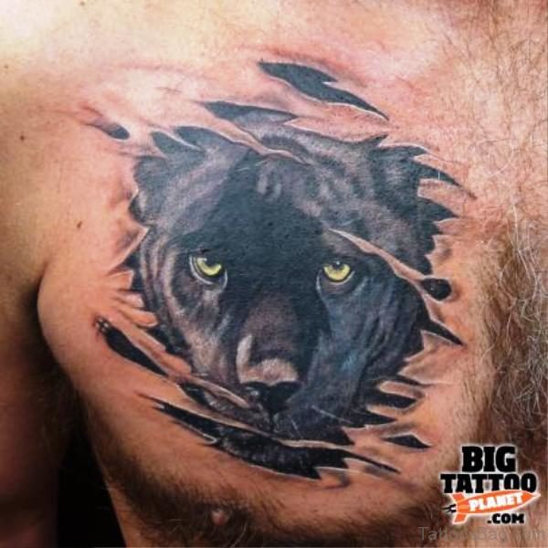 Black Panther Head Tattoo On Chest