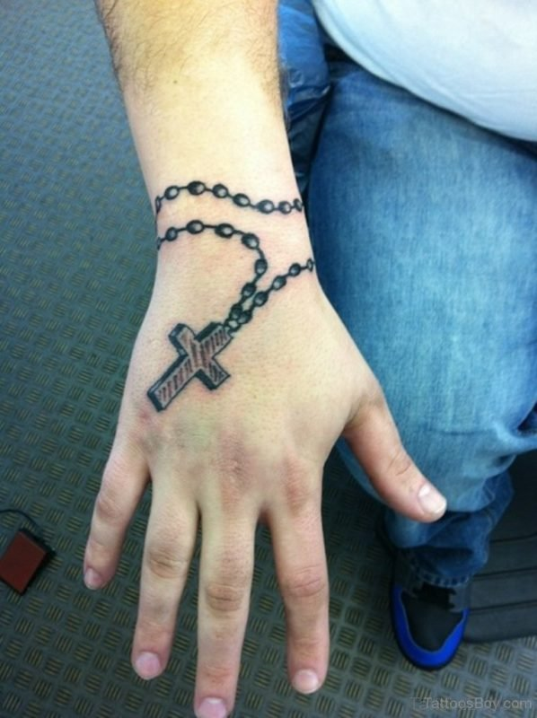 Black Rosary Wristband Tattoo