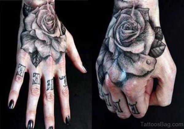 Black Rose Tattoo On Hand