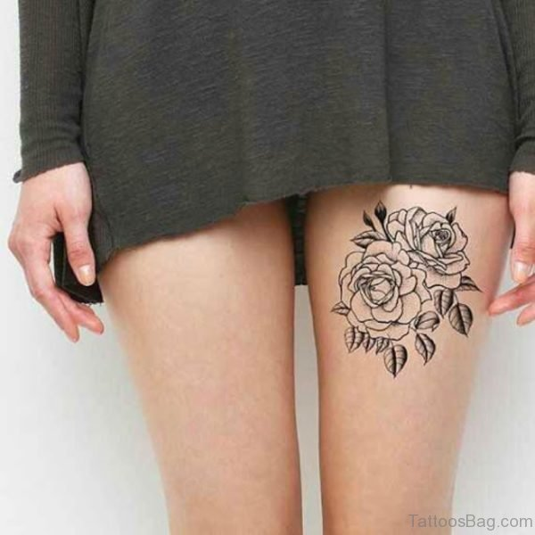 Black Rose Tattoo On Thigh