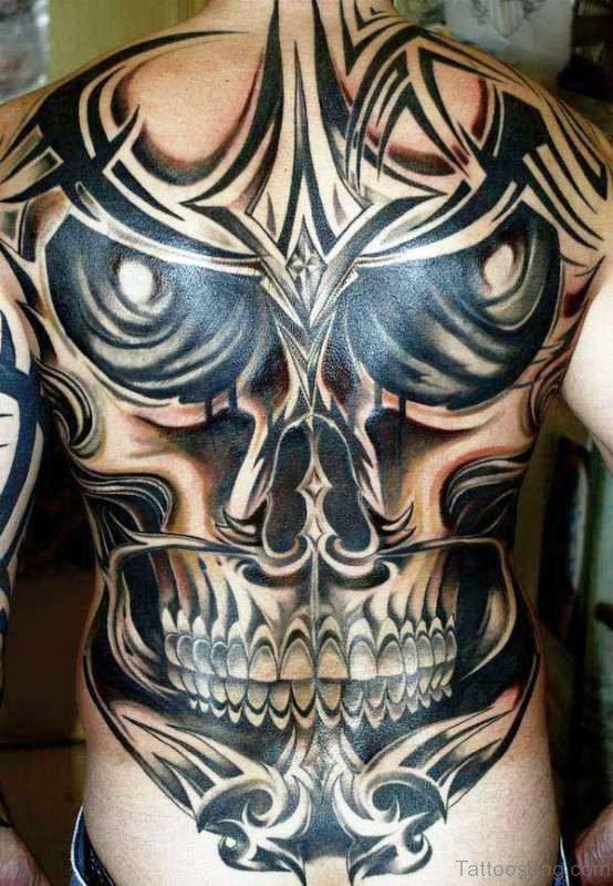 Black Skull Tattoo On Back