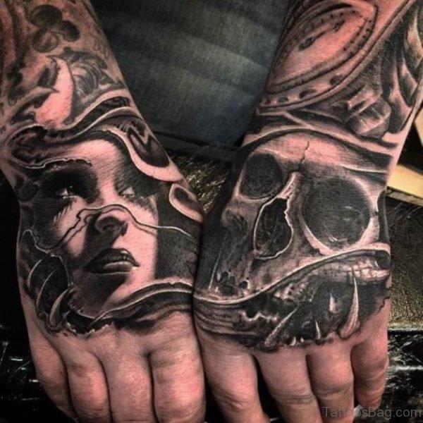 Black Skull Tattoo On hand