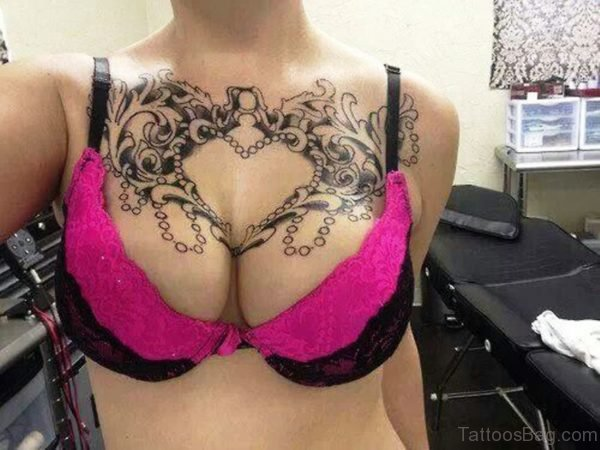 Black Tattoo For Women On Chest