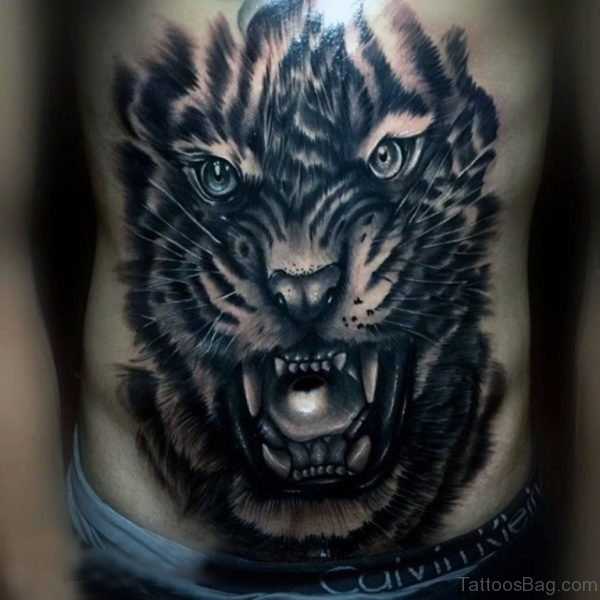 Black Tiger Tattoo On Stomach