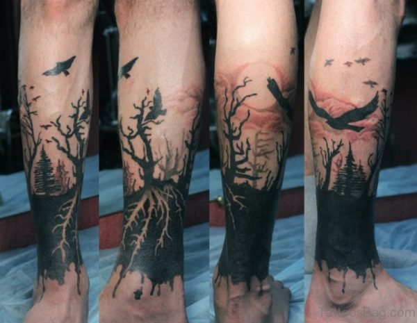 Black Tree Tattoo Design