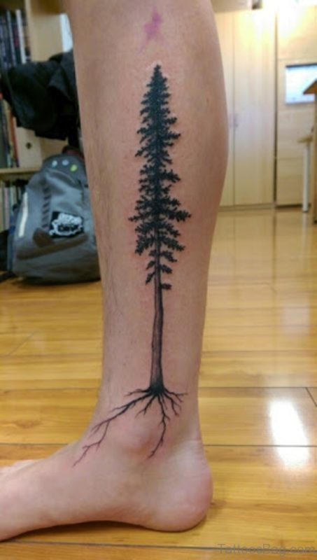 Black Tree Tattoo On Leg