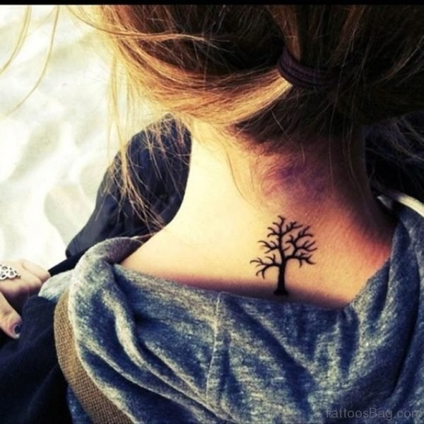 Black Tree Tattoo On Nape