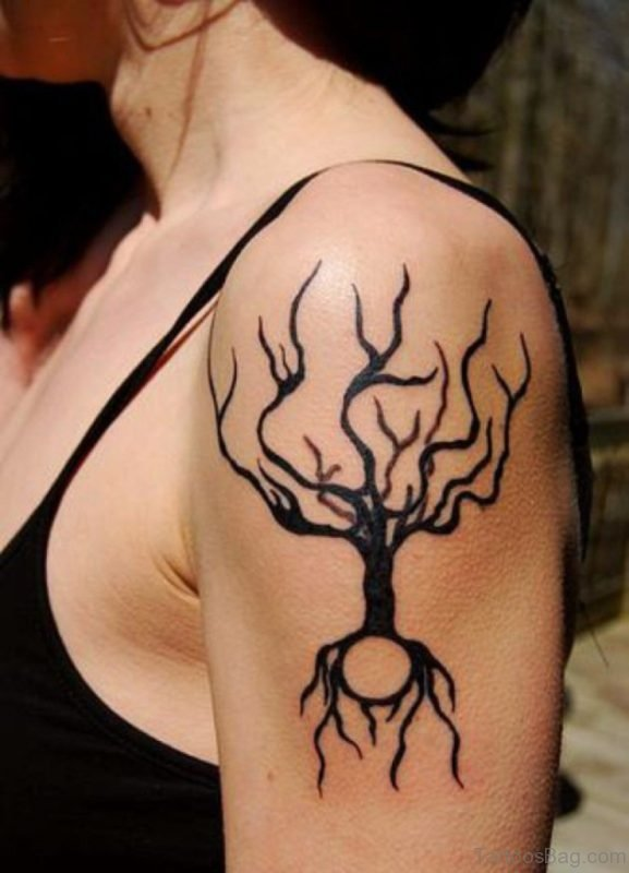 Black Tree Tattoo On Shoulder