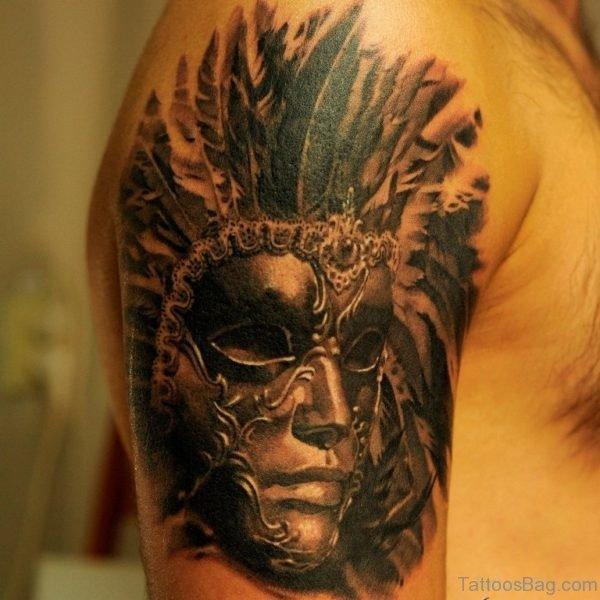 Black Venetian Mask Tattoo