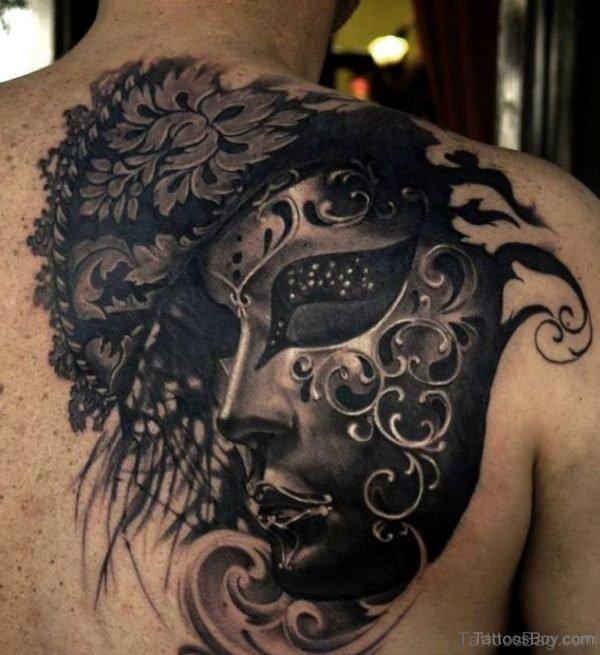 Black Venetian Mask Tattoo On back Shoulder