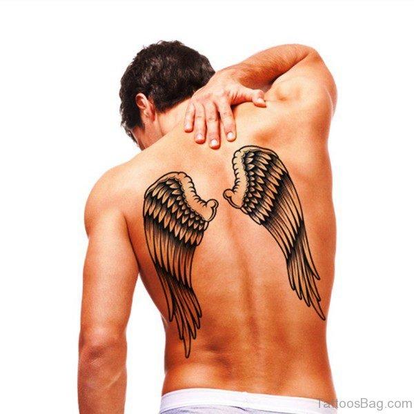 Black Wings Tattoo On Back