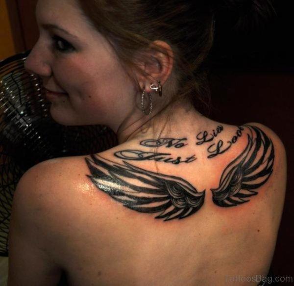 Black Wings Tattoo On Upper Back