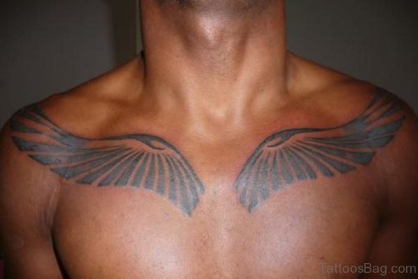 Black Wings Tattoo on Chest