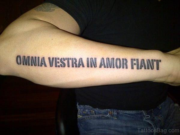 Black Wording Tattoo On Arm